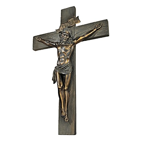 Design Toscano Crucifixion Cross of Jesus Christ Wall Sculpture in Faux Verdigris Bronze