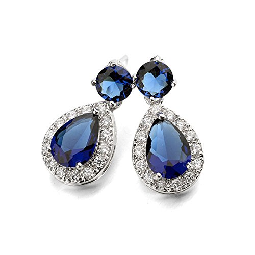 Silver-Tone-Teardrop-Shaped-Round-Cut-Sapphire-Blue-Swarovski-Elements-Crystal-Stud-Earrings-for-Women