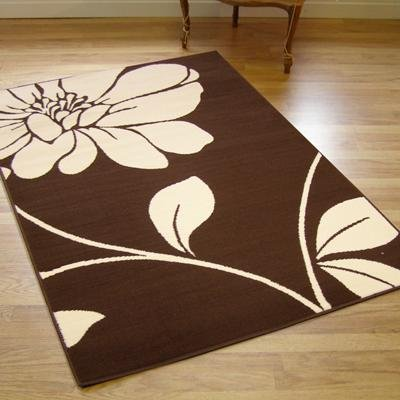 Large Contemporary Vegas Rug In Chocolate Brown  &  Cream 1.6m X 2.3m (5'3 X 7'6 Approx)