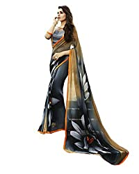 Pramukh saris Womens Georgette Printed Sari(Black)
