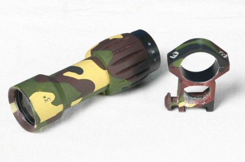 """Ultimate Arms Gear Woodland Camo Camouflage 3X """"Cqb"""" Tactical Magnifier For Eotech - Aimpoint - Red Dot Scope-Sight : Includes """"Qd"""" Quick Detach Weaver-Picatinny Mounting Ring"""