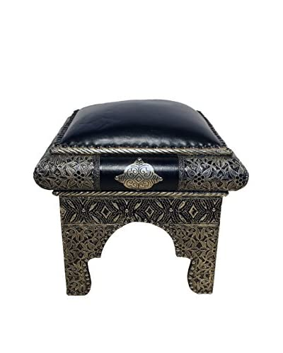 Badia Design Moroccan Metal And Faux Leather Ottoman, Blue/Silver