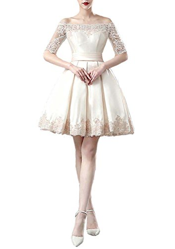 Fanhao Women's Off the Shoulders Lace Sleeves Short Evening Gown Prom Dress,Ivory,S
