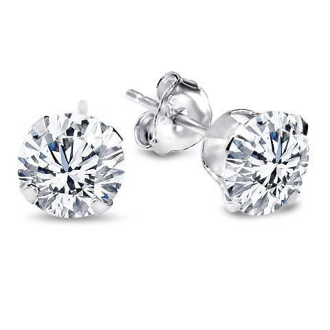 Authentic 925 Sterling Silver 1.00 Carat Round Cz Diamond Cubic Zirconia Studs. .50 Carat Each Stone