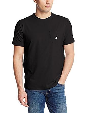 Nautica Men's Solid Pocket T-Shirt, Black, Medium