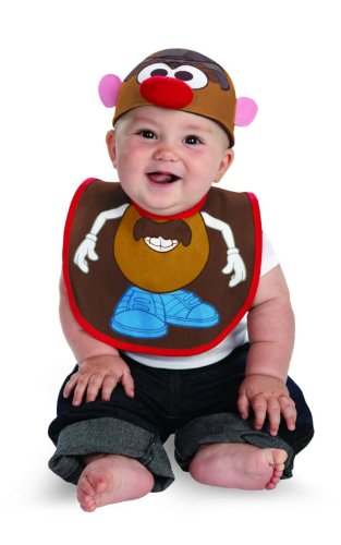 Disguise Costumes Drool Over Me Hasbro Mr Potato Head Infant Bib and Hat  Accessory, Brown/Blue/Red/White, 0-12 Months