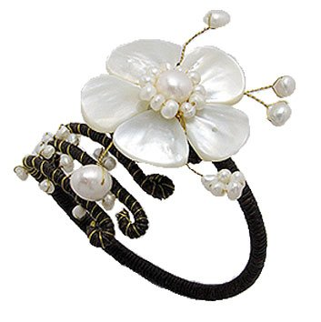 Gemstone Bangle Cuff, Flower, Mother of Pearls, Fresh Water Pearls, complete with a gift box.