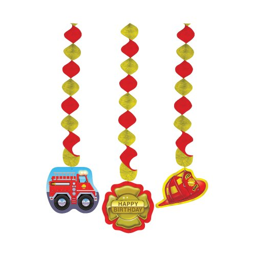 Creative Converting Firefighter 3 Count Dangling Cutouts Hanging Party Decoration - 1