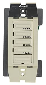 Leviton ACT60-LA, Acenti 20A/1000W 1-HP Four Preset 10-20-30-60 Minutes Electronic Incandescent and Inductive Timer, Single-Pole, Natural