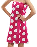 Terry Women Bath Wrap Towel Cotton Cover Up Made in USA Velcro Closure - One Size Fuchsia Polka Dotted