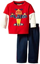 Kids Headquarters Baby-boys Infant Plane Twofer Top with Pull On Pants, Red, 12 Months