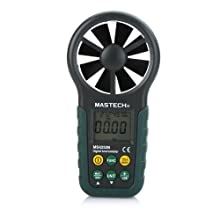 Mastech MS6252B Portable Digital Anemometer Handheld LCD Electronic Wind Speed Air Volume Measuring Meter with Temperature and Humidity Display USB Data Upload Backlight