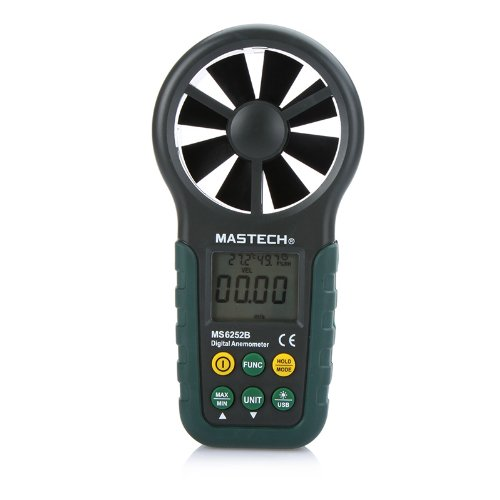Mastech MS6252B Portable Digital Anemometer Handheld LCD Electronic Wind Speed Air Volume Measuring Meter with Temperature and Humidity Display USB Data Upload Backlight - 1