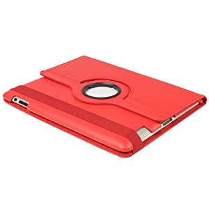 Sleep/wake Smart Cover Function 360 Rotation Bracket Board Holder Protective Case Red for Ipad 2