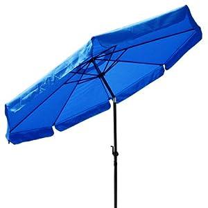 10 Ft Crank Tiltable Aluminum Blue Umbrella Patio Market Outdoor Deck Beach by Generic Brand