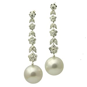 Molly Diamond 18K South Sea Pearl Earrings - White