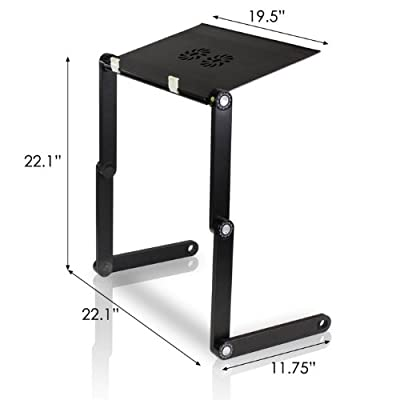 FURINNO Adjustable Vented Laptop Table/Portable Bed Tray Book Stand Dual Layer Tablet