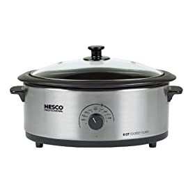 Nesco 4816-25-30PR Professional 6-Quart Stainless Steel Roaster Oven with Glass Cover, Non-Stick Cookwell