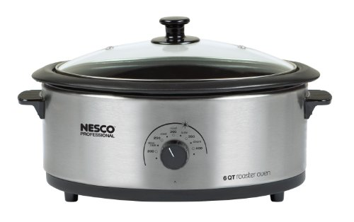 Best Deals! Nesco 4816-25-30PR Professional 6-Quart Stainless Steel Roaster Oven with Glass Cover, N...