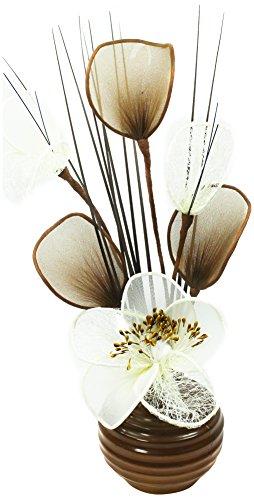 Flourish - Vaso con fiori finti in tessuto, 32 cm, colore: Caffè/crema
