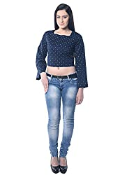 iamme Polka Dotted Printed Crop Top