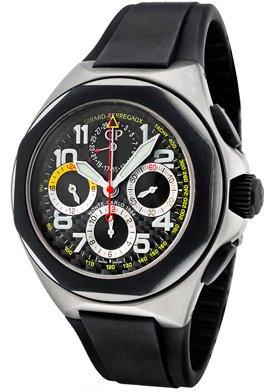 Girard Perregaux Laureato Rallye Monte Carlo Black Carbon Fiber Dial Chronograph Mens Watch 80178-28-611-FK6A