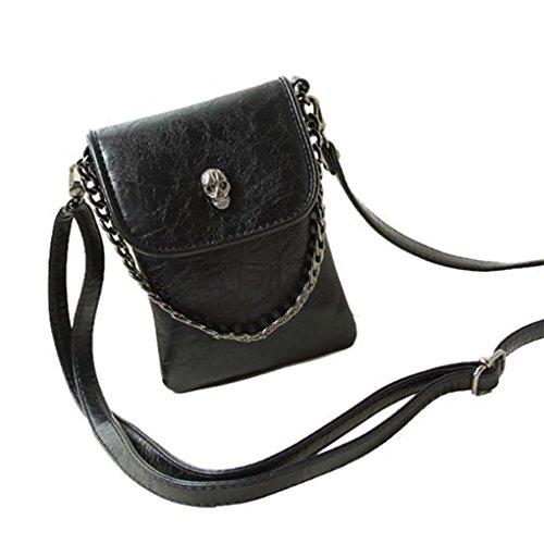BXT Womens Gothic Studded Skull PU Leather Summer Mini Satchel Handbag Cross Body Bag (Cool Skull Stuff compare prices)