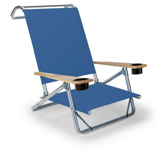 Telescope Casual Original Mini-Sun Chaise Folding Beach Arm Chair With Cup Holders, Cobalt