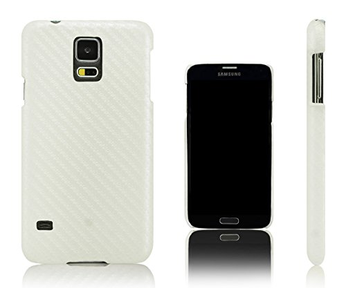 Xcessor Carbon Fibre Effect Hard Plastic Case for Samsung Galaxy S5 i9600 (Compatible with All Samsung Galaxy S5 Models). White