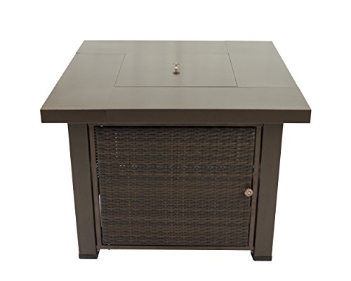 Pleasant Hearth OFG419T Rio Square Wicker Gas Fire Pit Table, 38