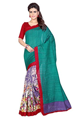 Sourbh Sarees Teal And Multicolor Art Silk Printed Half Half Sarees for Women Party Wear