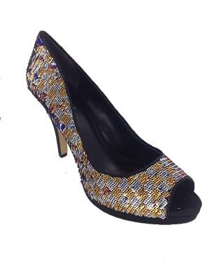 Nine West Women's Danee Peep-Toe Pump,Gold Multi/Black Satin Luxe,5.5 M US
