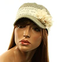 Ladies Summer Cotton Lace Flower Crochet Hatband Cadet Castro GI Cap Hat Olive