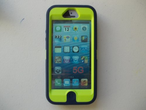 Great Sale Otterbox defender for iPhone 5 Punked (Admiral Blue / Glow Green)