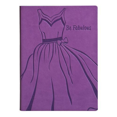 "Purple Embossed ""Be Fabulous"" Leather Writing Journal - Lined - 1"