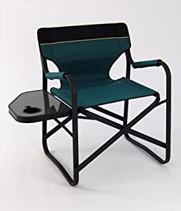 Onway Aluminium Portable Folding Director Chair With Side Table Green Cam