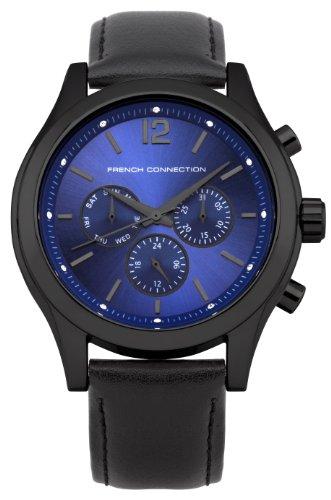 French Connection FC1144BB - Reloj cronógrafo unisex, correa de cuero color negro
