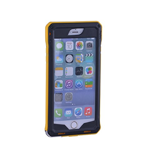 "Pepkoo Ultimate Series Aluminum Metal Military Heavy Duty Protective Case For Apple Iphone 6 4.7"" Screen (Black/Yellow)"