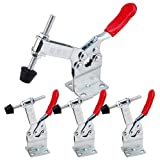 E-TING 4Pcs 198LBS Hand Tool 201-BHB Toggle Clamp Horizontal Clamp Antislip 201B-Upgrade Quick Release Tool (Heightened Clamp) (Color: Red)