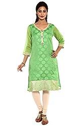 Aaboli Green Chanderi Straight Long Kurta
