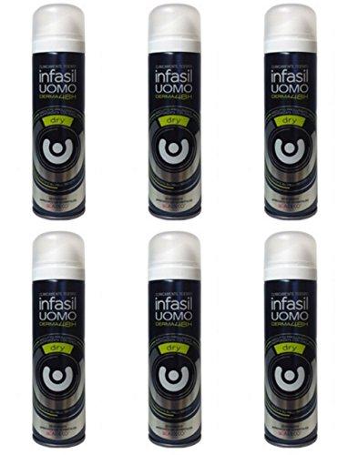6 X Infasil deodorante Spray Uomo Dry Derma 48H Deo maschile anti sudore
