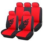 Universal Auto Sitzbezug Set Sitzbezüge Schonbezüge Flamme schwarz / rot AS7223