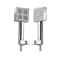 Hindware Showers 2-Flow 50cm Square Hand Shower with Double Lock Stainless Steel Flexible Hose and Wall Hook (Chrome)
