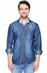 Lafantar by Fasnoya Men's Slim Fit Denim Shirt