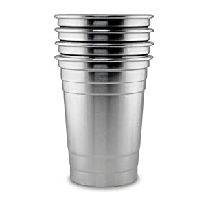 stainless steel 16 oz pint glass tumbler 4 pack stackable party cups for. Black Bedroom Furniture Sets. Home Design Ideas