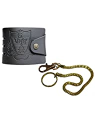 Apki Needs Designer Mens Black Wallet And Golden Chain Keychain Combo