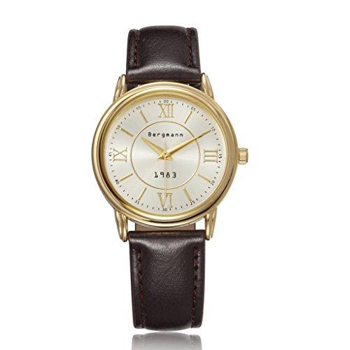 Bergmann Brand Vintage Watch For Men Gold Case Brown Leather Gents Wristwatch Quartz 1983