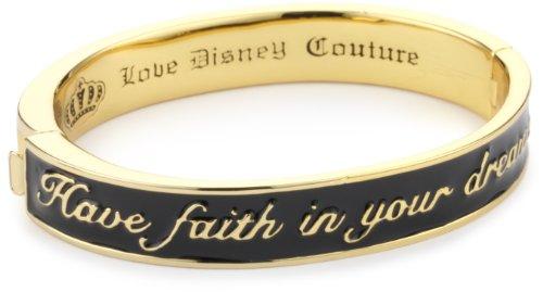 """E citazione in rilievo, motivo: Disney Couture-Bracciale rigido in oro giallo con smalto, colore: nero """""""