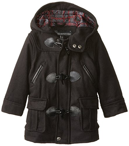 Urban Republic Little Boys' Wool Blend Toggle Coat Toddler, Black, 4T