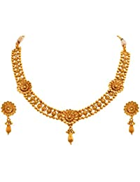 JFL - Traditional And Ethnic One Gram Gold Plated Floral Designer Necklace Set/ Jewellery Set With Earring For...